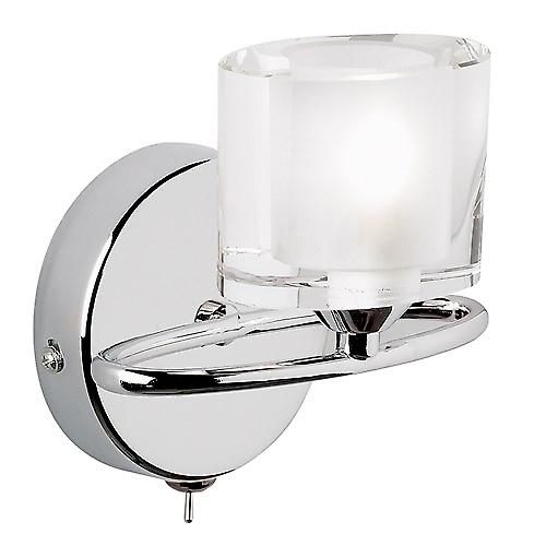 Endon 91181 Sonata Switched Modern Wall Light With Oval Crystal Glass Shades