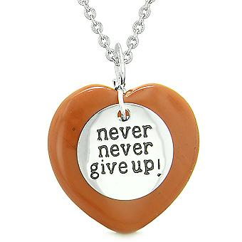 Amulet Never Give Up Inspirational Puffy Magic Lucky Heart Charm Red Jasper Pendant 18 inch Necklace