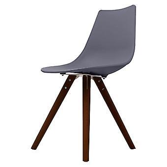Chaise de salle à manger en plastique gris foncé iconique de fusion vivant avec des jambes en bois foncé