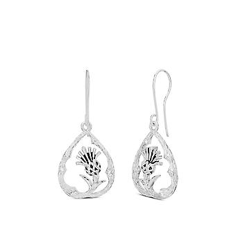 Outlander Offcenter Thisle Earrings In Sterling Silver