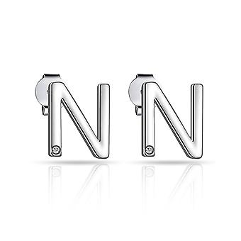 Initial earrings letter n created with swarovski® crystals