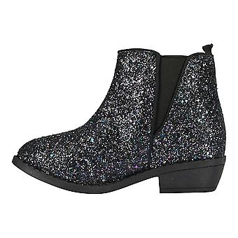 bebe Girls Chunky Glitter Ankle Boots with Elastic Dress Shoes