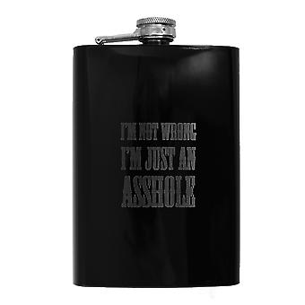 8oz black i'm not wrong flask l1 fun silly novelty