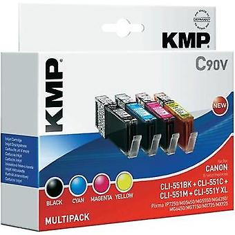 KMP Ink replaced Canon CLI-551 Compatible Set Photo black, Cyan, Magenta, Yellow C90V 1520,0050