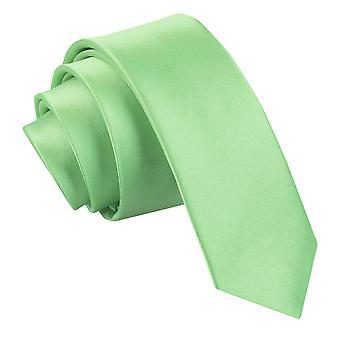Men's Plain Lime Green Satin Skinny Tie