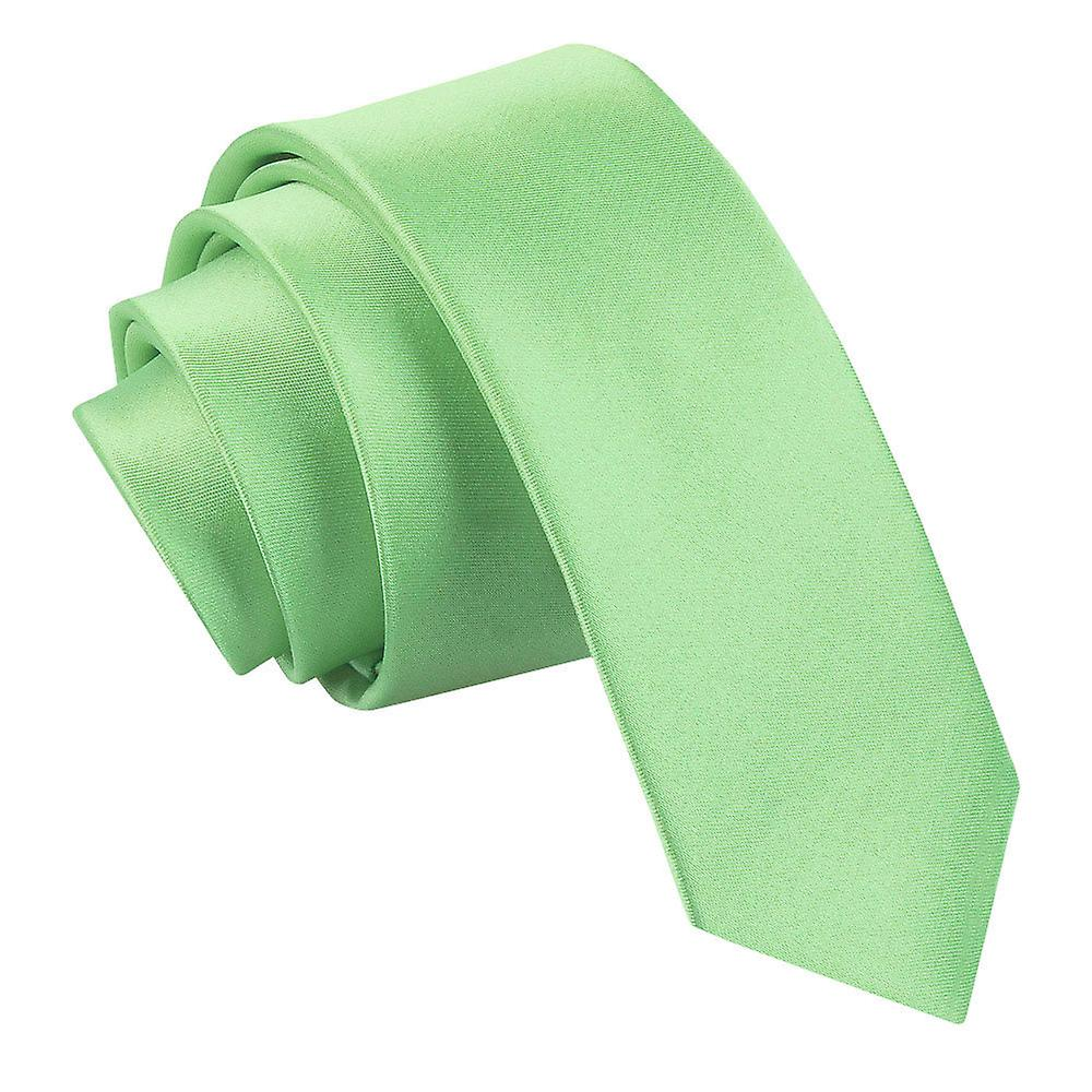 Plain Lime Green Satin Skinny Tie