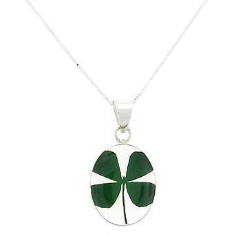 Hurlante Violet véritable Four Leaf Clover Shamrock ovale pendentif en argent Sterling