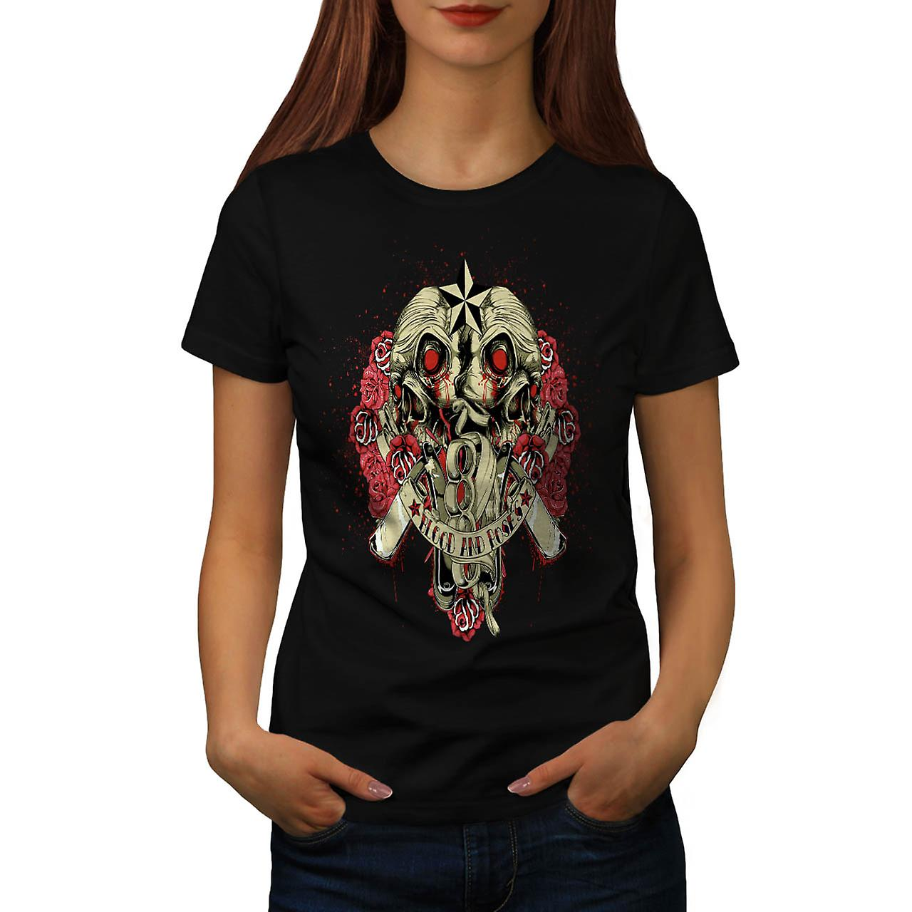 Blood And Roses Fear Flower Love Women Black T-shirt | Wellcoda
