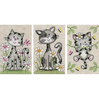 Cats And Flowers Miniatures On Aida Counted Cross Stitch Kit-3.2