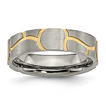 Titanium Satin and Grooved Gold-Flashed Brushed Engravable Yellow IP-plated Ladies 6mm Band Ring - Ring Size: 6 to 13