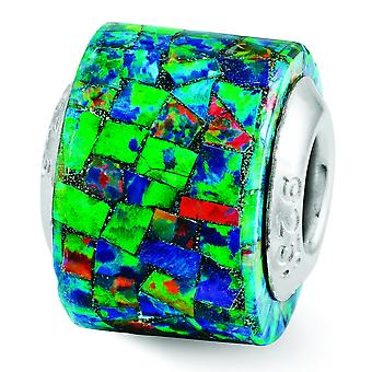 Sterling Silver Reflections Synthetic Simulated Opal Mosaic Bead Charm