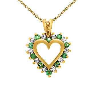 14k Yellow Gold Emerald and Diamond Heart Shaped Pendant with 18