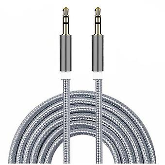 ONX3 (Silver) Premium Quality Nylon Braided 2 Meter Length Gold Plated 3.5 mm Jack To Jack Connection Aux Auxiliary Audio Cable for BLU Studio C 5 + 5 / BLU Studio C 5 + 5 LTE