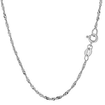 10 k witgoud Singapore Chain ketting, 1.7mm