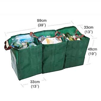 3 Recycling Green Bags with Handle Reusable for Shopping Home Garden