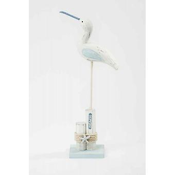 Wooden Sea Bird on Beach Post Decoration with rope and Starfish