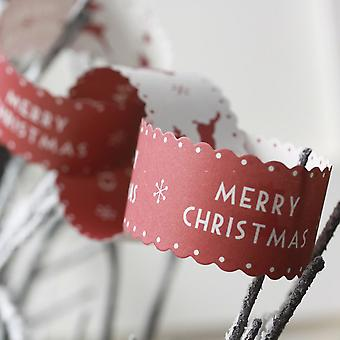 East of India Merry Christmas Paper Chains Red & White Reindeer