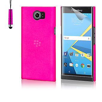 Hard plastic shell case + stylus for BlackBerry Priv - Hot Pink