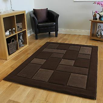 Chocolate Brown Embossed Modern Rug Contempo