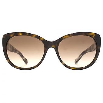 Burberry Stripe Inlay Temple Cateye Sunglasses In Dark Havana