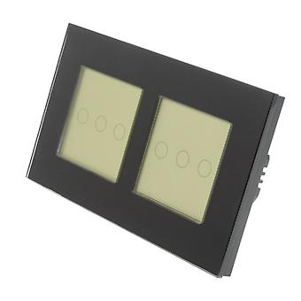 I LumoS Black Glass Double Frame 6 Gang 1 Way Touch LED Light Switch Gold Insert