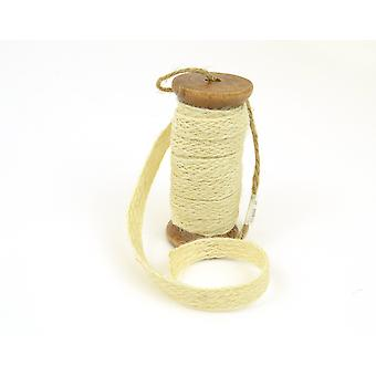 Natural White Jute Trim on a Wooden Spool | Twine Cord & Elastic for Crafts