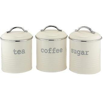 CANISTER ROUND CREAM SET OF 3 TEA COFFEE SUGAR GREAT TOUCH FOR YOUR KITCHEN OR COFFE SHOP BEAUTIFUL DESIGN AIRTIGHT LIDS COMFORTABLE GRIP EASY TO CLEAN 14 CM(H)X12 CM(D)