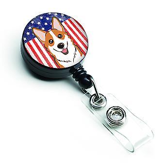 Carolines Treasures  BB2184BR American Flag and Red Corgi Retractable Badge Reel