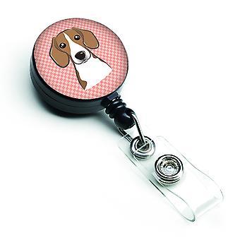 Carolines Schätze BB1239BR Schachbrett rosa Beagle versenkbare Abzeichen Reel