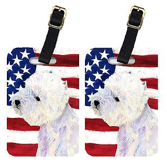 Каролинских сокровища SS4249BT пара американский флаг США с Westie Камера Теги