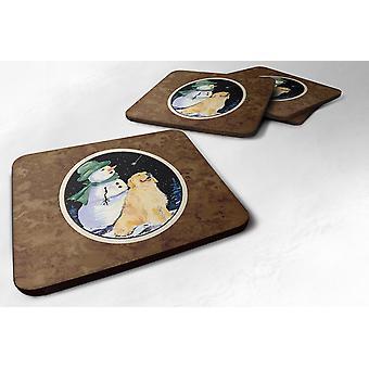 Set van 4 gouden met sneeuwpop in groen hoed Retriever schuim Coasters
