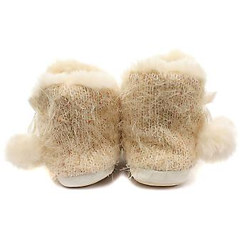 Dunlop Bethan Cream Womens Boot Slippers Size S