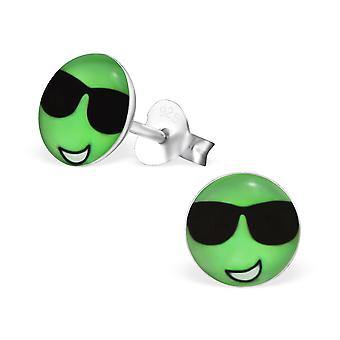 Cool Face - 925 Sterling Silver Colourful Ear Studs