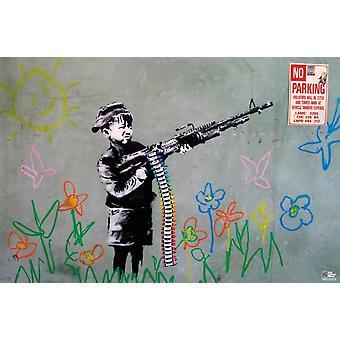 Wachsmalstift Shooter - Banksy Plakat Poster drucken