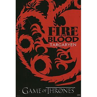Spill av troner - Targaryen - Sigil plakat plakatutskrift