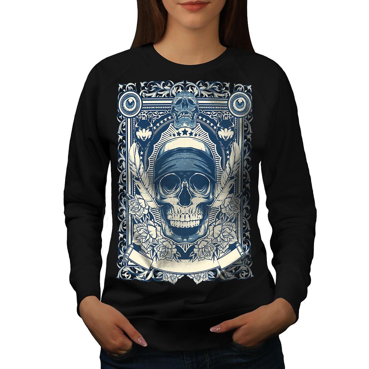 Day Dead Feather Skull Women BlackSweatshirt   Wellcoda
