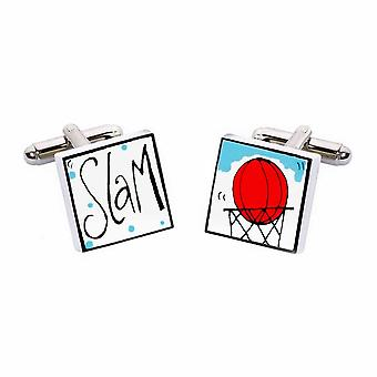 Slam Dunk Cufflinks by Sonia Spencer, in Presentation Gift Box. Basketball