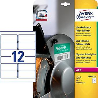 Avery-Zweckform L7913-10 Labels (A4) 99.1 x 42.3 mm PE film White 120 pc(s) Permanent All-purpose labels