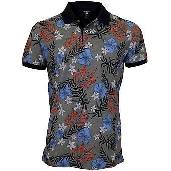 Gant Multi Flower Stampa Rugger Polo in piquet, blu/grigio