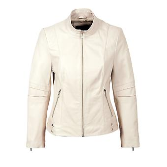 Chaqueta de cuero de Monique en blanco
