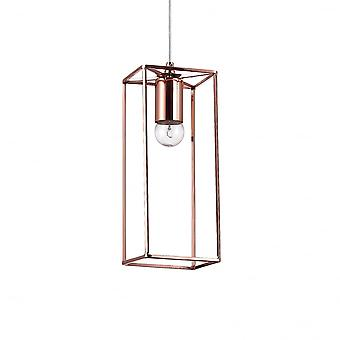 Ideal Lux Volt Traditional Copper Single Rectangular Ceiling Drop Light