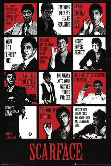 Scarface Poster Movie Quotes Al Pacino Large Print (24x36)