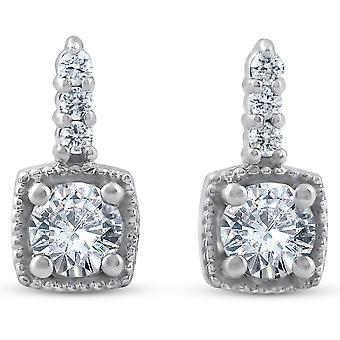 3 / 4ct diament Poduszka oprawione Drop kolczyki 14k białe złoto Petite 11 mm wysokości