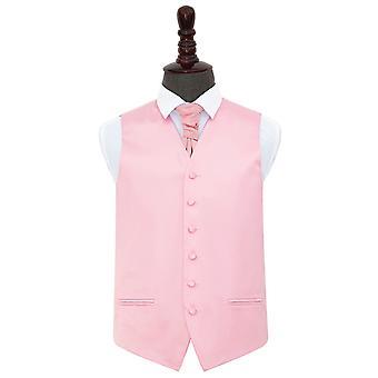 Baby Pink almindelig Satin bryllup vest & Cravat sæt