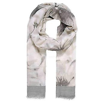 Intrigue Bordered Floral Print Scarf - Grey