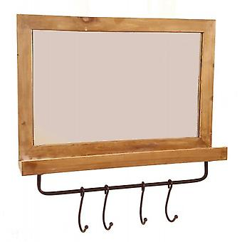 Wooden wall mirror with 4 hooks