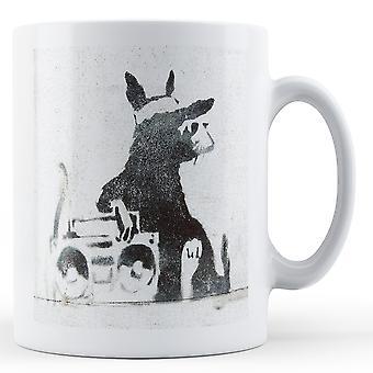 Mug imprimé Banksy - Rat avec Beatbox 2 - BKM244
