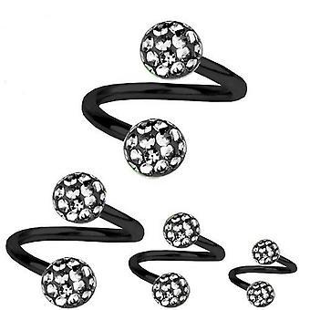 Skręt spirala Piercing czarny tytan 1,2 mm, Multi Crystal Ball Black Diamond