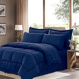 100% Cotton Comforter 5 Piece Set-navy