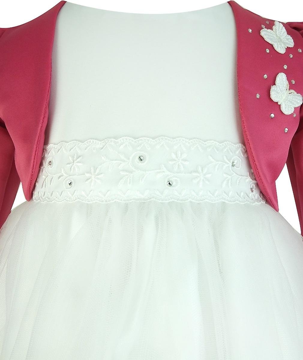 Frazer & James White Sparkle Christening Wedding Dress with Pink Butterfly Bolero Jacket